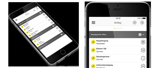 AirKey App auf Smartphone